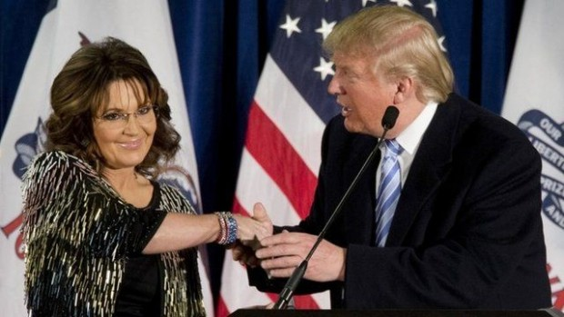 "Sarah Palin asked crowds in Iowa, ""Are you ready to stump for Trump?"""