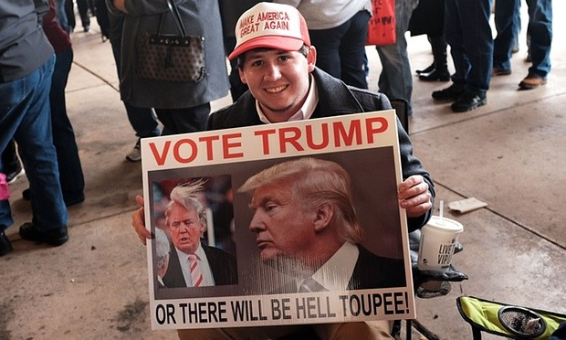 A Donald Trump supporter waiting to hear him speak at the Mississippi Coast Coliseum on Saturday 2 January in Biloxi. Photograph- Spencer Platt-Getty Images