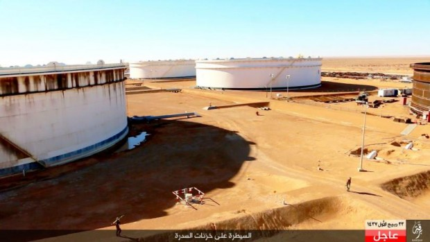 An ISIS propaganda photo of the es-Sidra oil facility in the Libyan province of Sirte. PHOTO: ISLAMIC STATE GROUP MEDIA CENTER