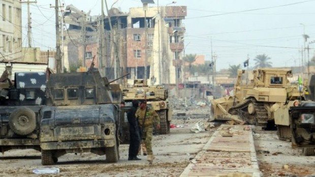 Buildings in Ramadi have been heavily damaged by the fighting