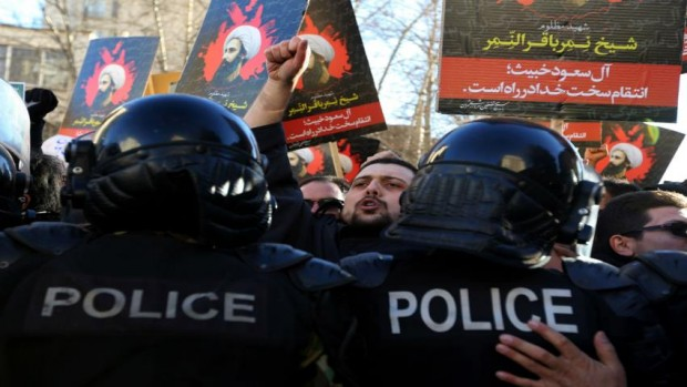 Iranian protesters stormed the Saudi embassy in Tehran [AFP]