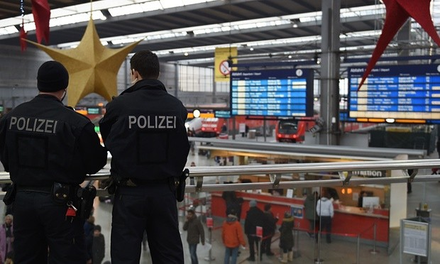 Police officers patrol at the main train station in Munich. Photograph- AFP-Getty Images