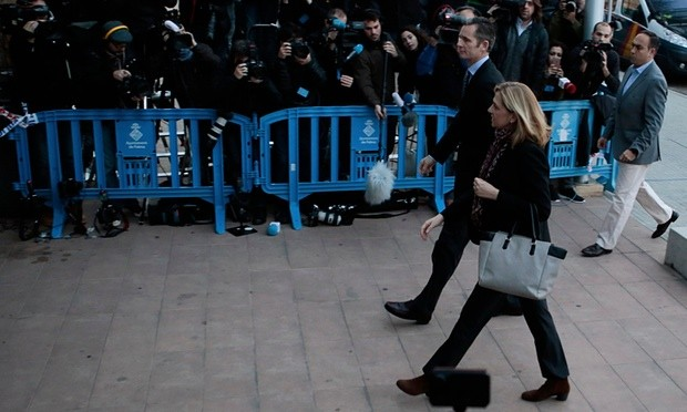 Princess Cristina and her husband Iñaki Urdangarin arrive at court in Palma, Mallorca, on Monday. Photograph: Enrique Calvo/Reuters