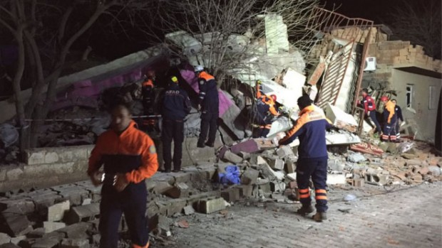 Rescuers are now searching through the wreckage of the building in Cinar district
