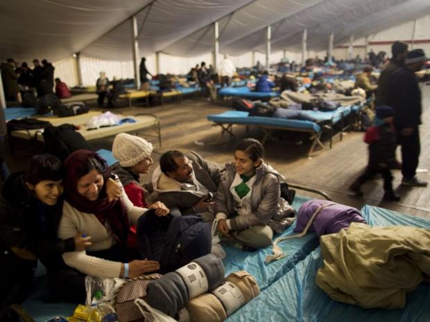 The Qasu family, a Yazidi refugee family from Sinjar, Iraq, in a shelter in Salzburg, Austria AP