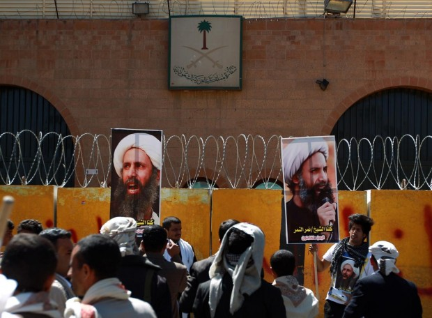 Yemeni protesters demonstrate outside the Saudi embassy in Sanaa against the death sentence of cleric leader Sheikh Nimr al-Nimr Getty-Mohammed Huwais
