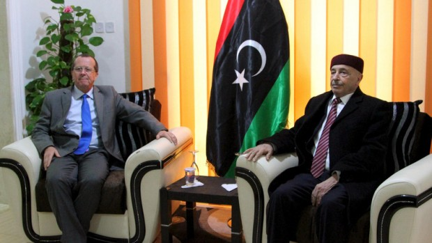 United Nations Special Representative and Head of the U.N. Support Mission in Libya Martin Kobler meets with House of Representatives President Aguila Saleh in Shahhat, Libya