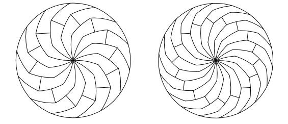 The perfect slicing pattern for an infinite number of equally-sized pizza slices, according to mathematicians Joel Haddley and Stephen Worsley