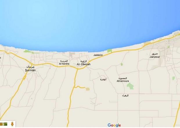 Map showing the coastal road western Tripoli.