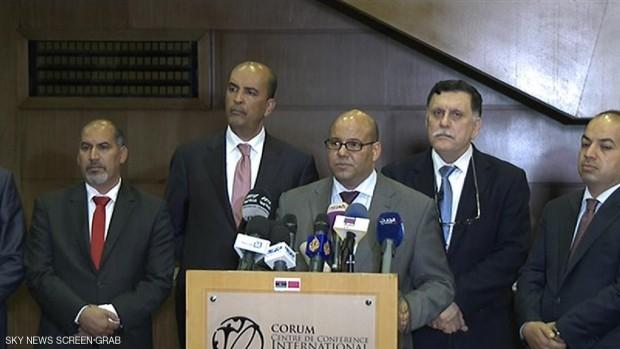 جانب من المؤتمر الصحفي لإعلان الحكومة الليبية الجديدة