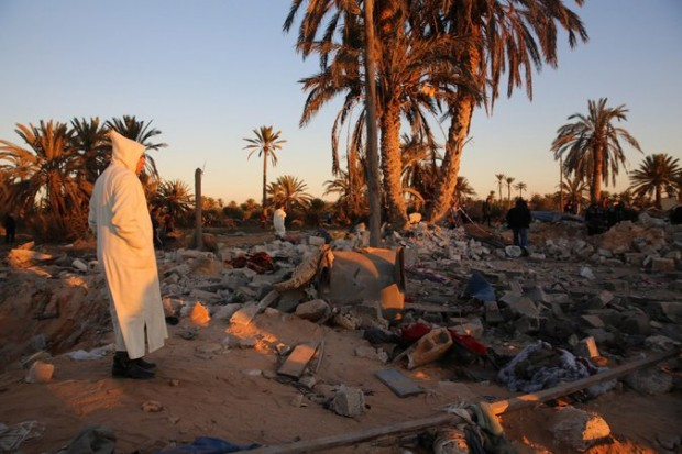 The aftermath of airstrikes on Friday in Sabratha, Libya. A Tunisian militant linked to attacks on tourists last year was targeted. Credit European Pressphoto Agency