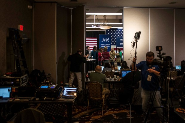 Staff members closed off the room at the Hilton Columbia Center in Columbia, S.C., on Saturday after Jeb Bush told supporters he was suspending his campaign for the Republican presidential nomination after a disappointing result in the state's primary. Credit Gabriella Demczuk for The New York Times