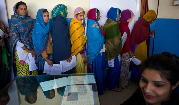 Women lined up for examinations this month before sterilization surgery at a government hospital in Mahendragarh, India. Kuni Takahashi for The New York Times