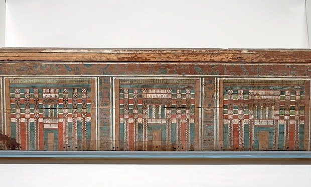 Painted wooden coffin inscribed for a woman with the title 'Lady of the House', called Nakht, thought to be dated from 1985-1773 BC. Photograph: Andrew Norman/The Fitzwilliam Museum