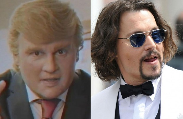 Johnny Depp gets a blonde comb-over and a Queens accent Funny Or Die / Getty