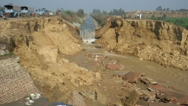 The Munak canal which was damaged by Jat protesters