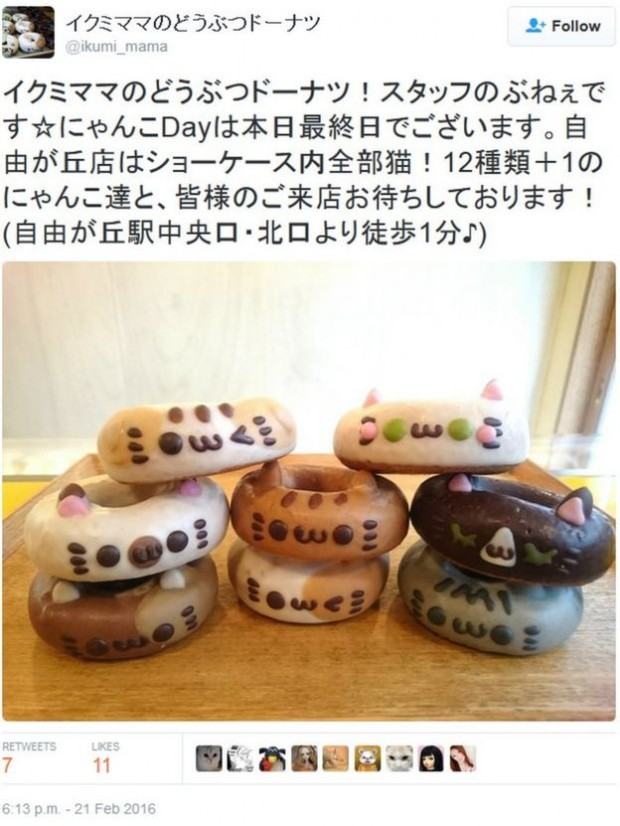 Ikumi Mama, a bakery known for producing animal-shaped pastries, released a special set of cat doughnuts