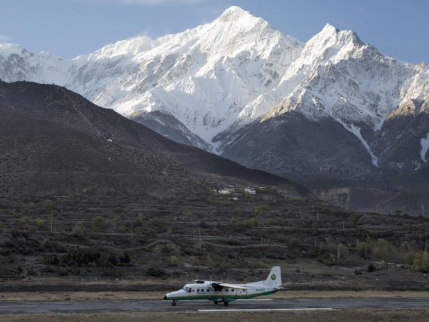 A picture made available on 24 February 2016 shows a twin aircraft of the Tara Airlines landing at Jomsom Airport, in Jomsom, a popular resort town west of Kathmandu, Nepal EPA