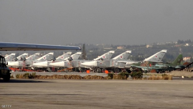 A general view shows Russian fighter jets on the tarmac at the Russian Hmeimim military base in Latakia province, in the northwest of Syria.                            AFP / STRINGER        STRINGER/AFP/Getty Images)