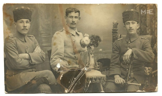 Haj Amin al-Husseini (R) with his nephews during his time serving in the Ottoman army. Location unknown, 1914-1917. From the family album of Said Husseini (The Palestinian Museum) - See more at: http://www.middleeasteye.net/in-depth/features/palestinian-museum-safe-place-unsafe-ideas-474077213#sthash.QENPhD30.dpuf