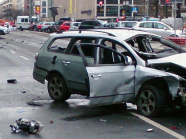 Berlin Police uploaded a picture of the wreckage of a silver VW Passat with its windows blown out and its front end smashed in Berlin Police/Twitter