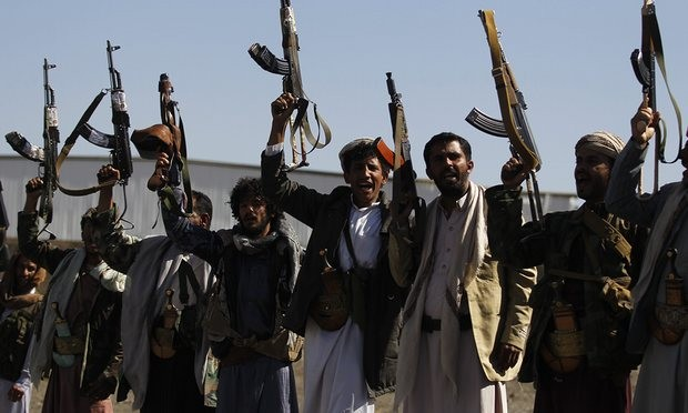 Pro-Houthi tribesmen during a tribal gathering in Sana''a, Yemen, in December. Photograph: Yahya Arhab/EPA