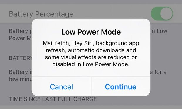 Low-power mode takes things one stage further and turns off fetch, as well as push data. Photograph: Samuel Gibbs for the Guardian