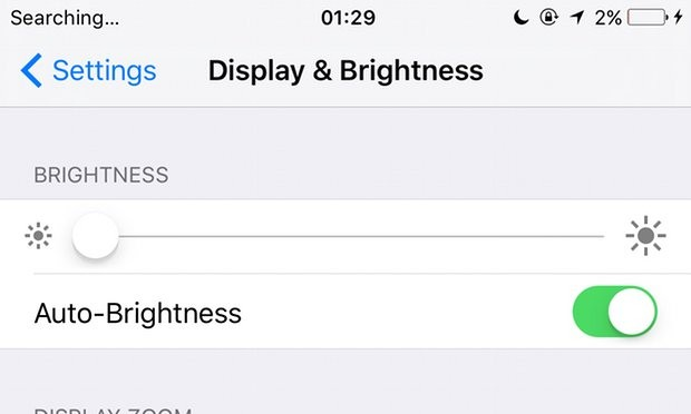 iOS brightness adjustment. Photograph: Samuel Gibbs for the Guardian