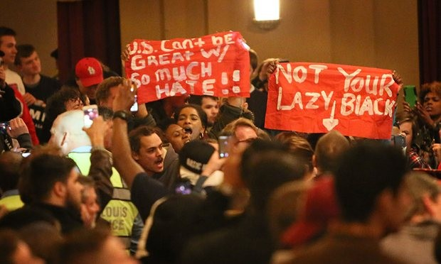 Protesters try to disrupt a rally for Trump in St Louis, Missouri. Photograph: St Louis Post-Dispatch/Rex/Shutterstock