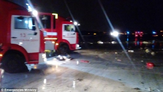 Emergencies Minister Vladimir Puchkov told media during a press conference that it was scheduled to land at 6.20pm ET, which is 1.20am Moscow time, but crashed at 8.50pm ET, which is 3.50am Moscow time. Pictured above are emergency vehicles at the scene of the crash