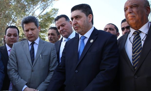 The sanctions could target figures such as Khalifa al-Ghweil (centre) of the Tripoli-based general national congress, a rival to the internationally recognised Tobruk administration. Photograph: Stringer/AFP/Getty Images