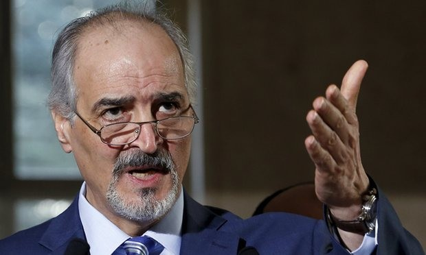 The Syrian government's head of delegation, Bashar Ja'afari, said discussion of Assad's future presidency were 'excluded' from negotiations. Photograph: Denis Balibouse/Reuters