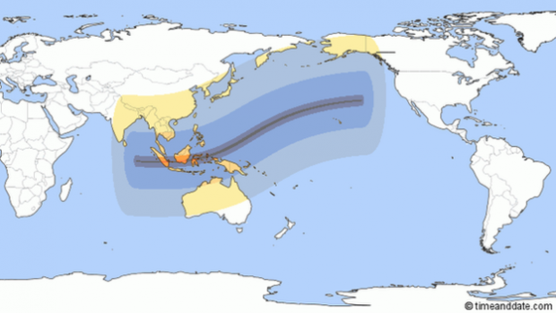 This map shows the path of the eclipse, which will travel from west to east