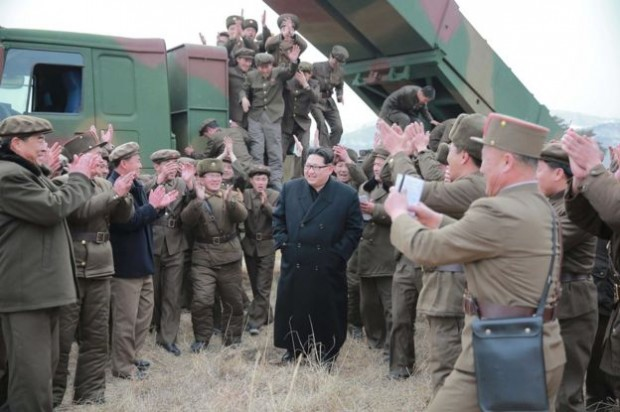 Earlier pictures released by North Korean news agency KCNA showed Kim Jong-un at what it said was the testing of a multiple launch rocket system