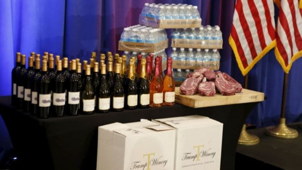 The cases of Trump wine and meat were bizarre props for a victory speech