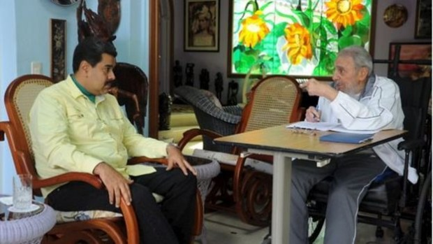 """Cubans were reminded of their """"historic leader"""" as newspapers published pictures of Fidel Castro meeting Venezuela's Nicolas Maduro"""