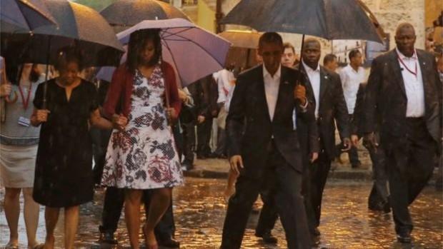 The Obama family braved the rain in Old Havana