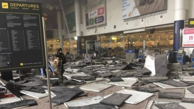 The departures hall at Zaventem following the blasts