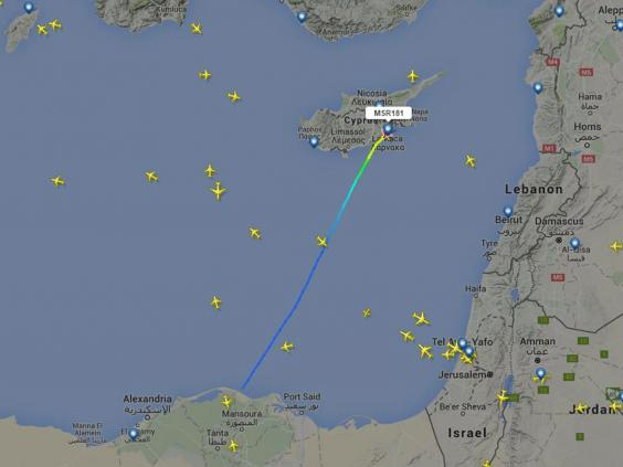 The recorded flight path of EgyptAir flight 181 showed it landing in Cyprus (Flightradar24)