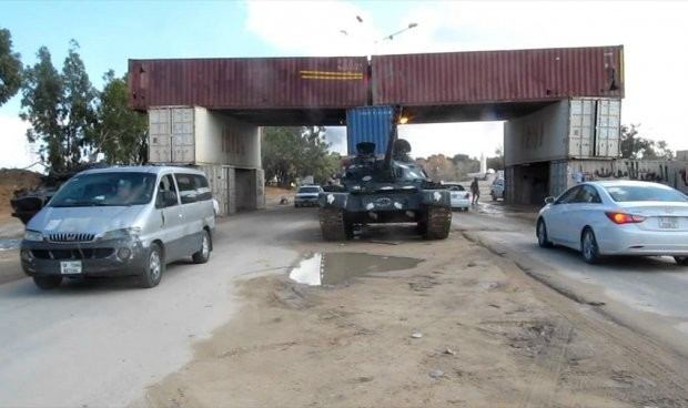Al-Dafiniya checkpoint at the western entrance of Misrata