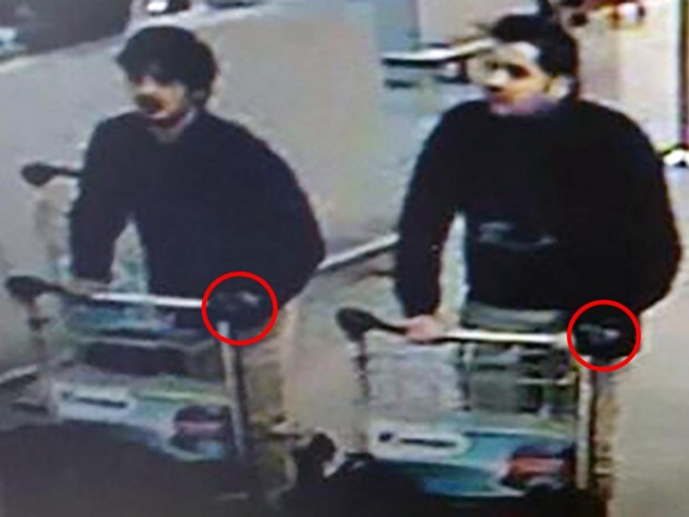 Both the suspected suicide bombers could be seen on airport CCTV wearing a glove on their left hands Getty Images