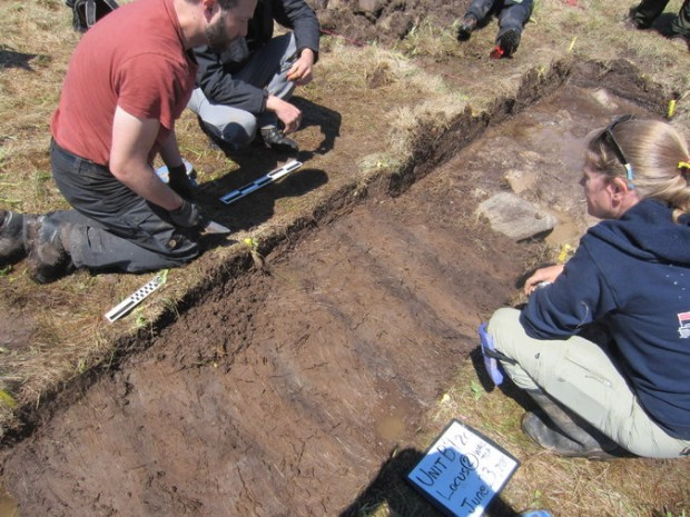 Douglas Bolender, left, and Sarah H. Parcak, right, looking for evidence of a Viking presence at a remote site, called Point Rosee by researchers, in Newfoundland. If confirmed, the site would be the second known Viking settlement in North America.