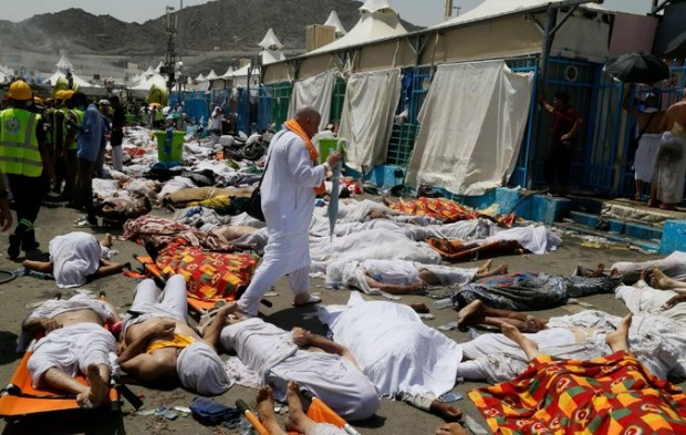 Bodies were gathered in Mina, Saudi Arabia, near Mecca, after a stampede in September killed hundreds of Muslim pilgrims.
