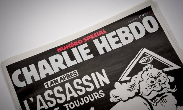 A copy of the special edition of Charlie Hebdo to mark the one-year anniversary of the attack on the magazine. Photograph: Imago/Barcroft Media/Panoramic