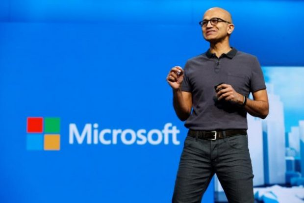 Microsoft CEO Satya Nadella delivers the keynote address during the Microsoft Build 2016 Developer Conference in San Francisco, California in this March 30, 2016, file photo. REUTERS/Beck Diefenbach/Files