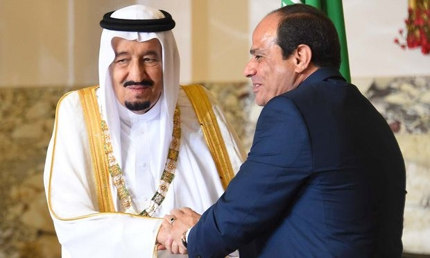 King Salman and Abdel Fatah al-Sisi in Cairo. Photograph: AFP/Getty Images