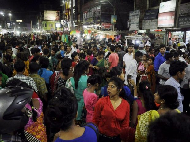 People crowd onto the street during an earthquake in Agartala, capital of India's northeastern state of Tripura, on April 13, 2016. AFP/Getty Images