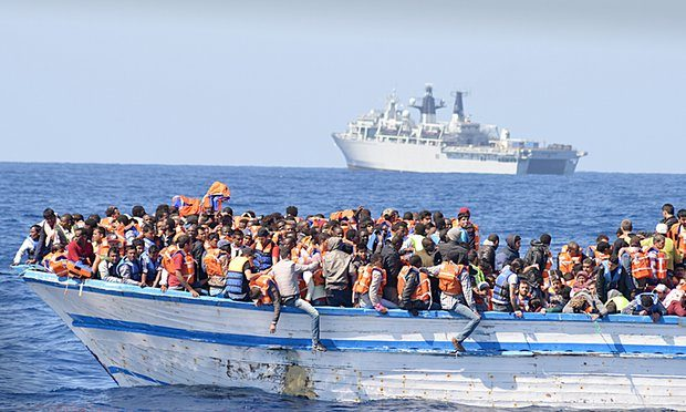An overcrowded boat in waters north of Libya last year. Photograph: MOD/REX Shutterstock