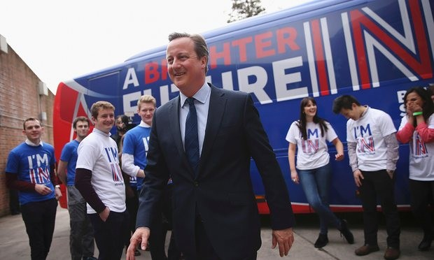 The prime minister joins students at the launch of the 'Brighter Future In' campaign bus at Exeter University. Photograph: Dan Kitwood/Reuters
