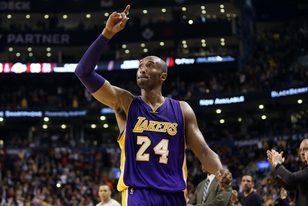 Dec 7, 2015; Toronto, Ontario, CAN; Los Angeles Lakers guard Kobe Bryant (24) salutes the crowd reaction as he exits the game for the last time in Canada against the Toronto Raptors at Air Canada Centre. The Raptors beat the Lakers 102-93. Mandatory Credit: Tom Szczerbowski-USA TODAY Sports - RTX1XNM3
